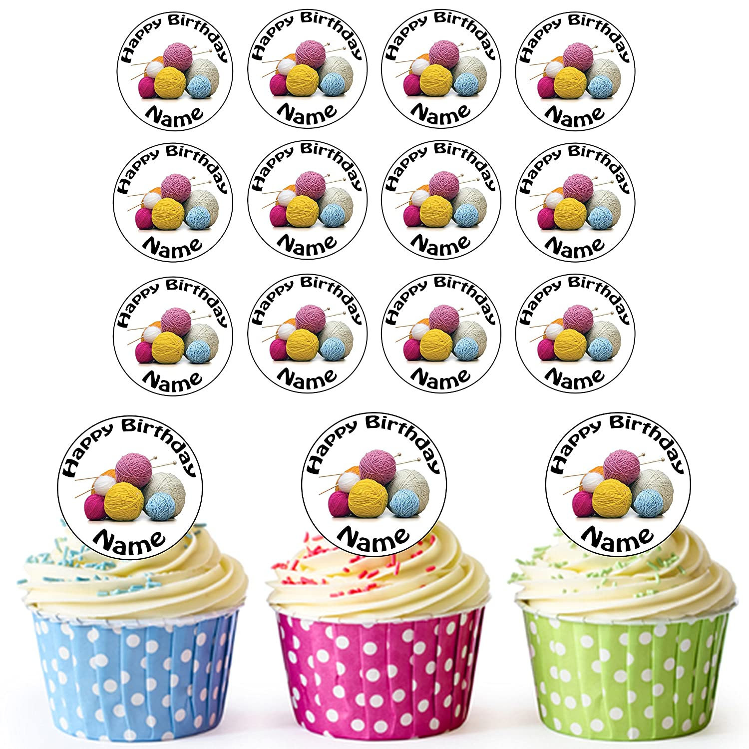 Easy Precut Circles Knitting 24 Personalised Edible Cupcake Toppers//Birthday Cake Decorations