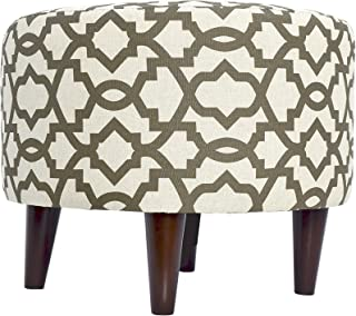 product image for MJL Furniture Designs Sophia Collection Fabric Upholstered Round Footrest Ottoman with Round Espresso Finished Legs, Sheffield Series, Cave