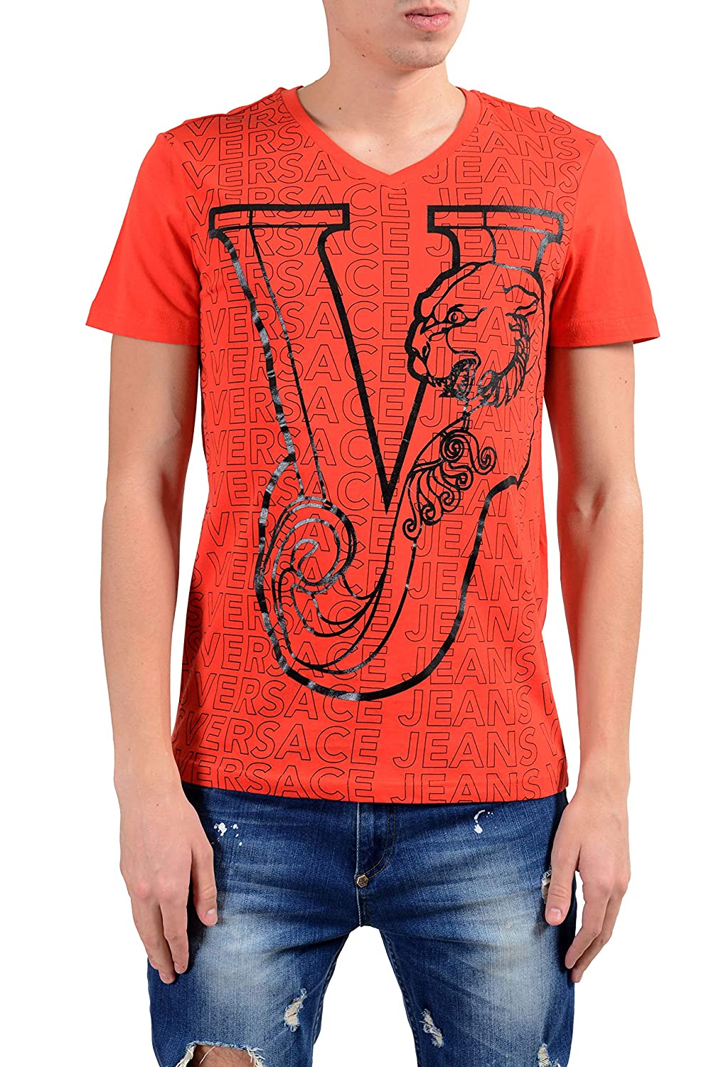 Versace Jeans Mens Orange Graphic Short Sleeve V-Neck T-Shirt Sz US S IT 48