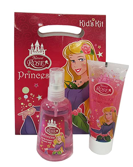 Natural rosa regalo princesa – agua de colonia sin alcohol 130 ml y gel para el