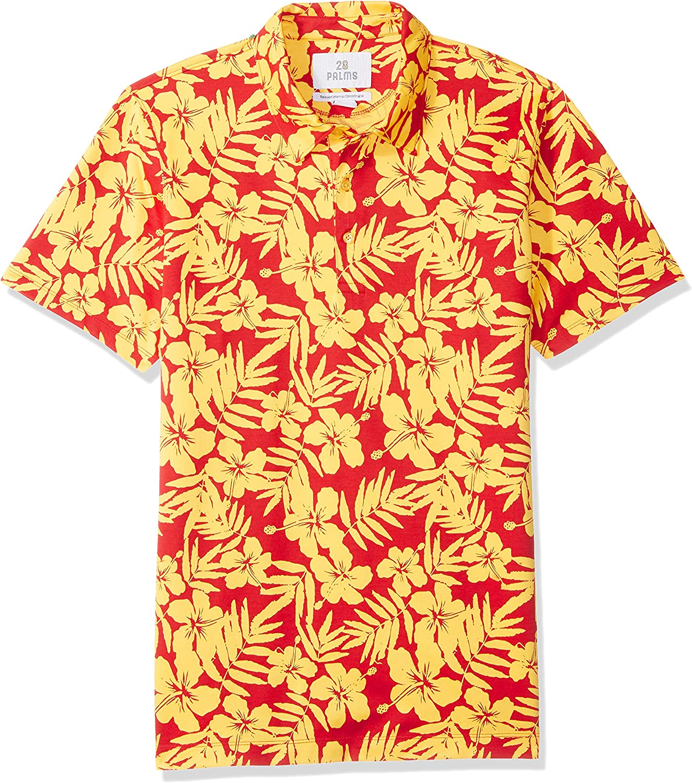 Piqu/é-Poloshirt aus Performance-Baumwolle mit tropischem Muster bequeme Passform Marke: 28 Palms Poloshirt Herren