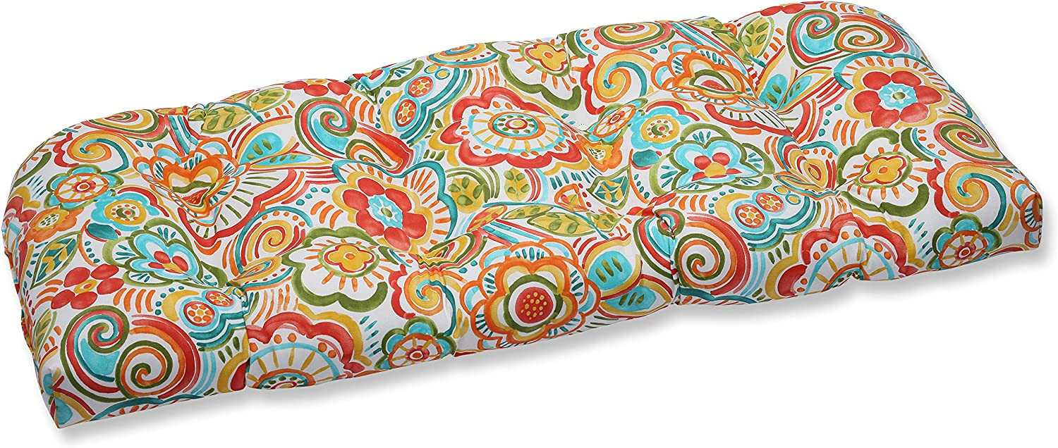 Pillow Perfect Outdoor Bronwood Carnival Wicker Loveseat Cushion, Multicolored