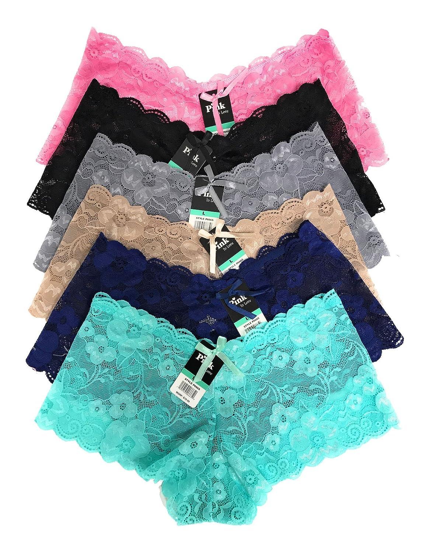 Pink in Love Women 12 Pack of Lace Boyshort Bikini Underwear P6665