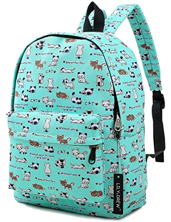 348cd73bb Amazon.com | Canvas Travel Backpack for Women and Teens (Cat Blue Medium) |  Casual Daypacks