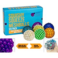 Squishy Mesh Ball Variety Pack from Purple Ladybug Novelty - 6 Stress Relief Squishy Mesh Balls, Including 1 LED Light Up, 2 Glitter, and 2 Color Changing Mesh Stress Balls - Free Sticker Pack Too!