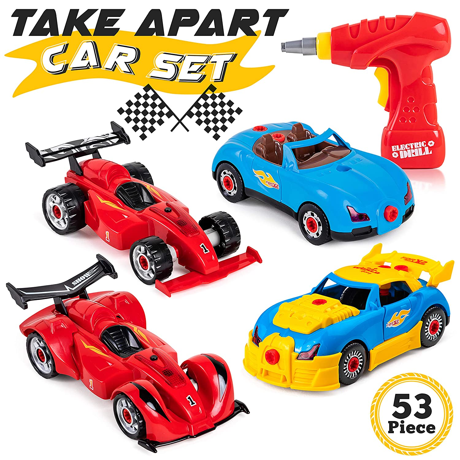 Take Apart Toy for Boys Accessories Drill Vehicle Assembly Construction Building STEM Kit for 3 4 5 6 7 8 Years Old Kids /& Toddlers 53-Piece Set of Racing Cars Great Gift for Children Tools