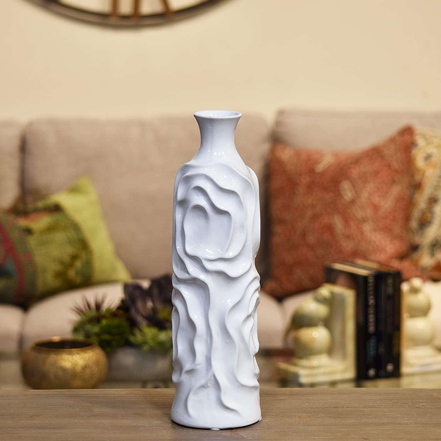 White Urban Trends Ceramic Round Cylindrical Vase with Neck and Wrinkled Sides in MD Gloss Finish