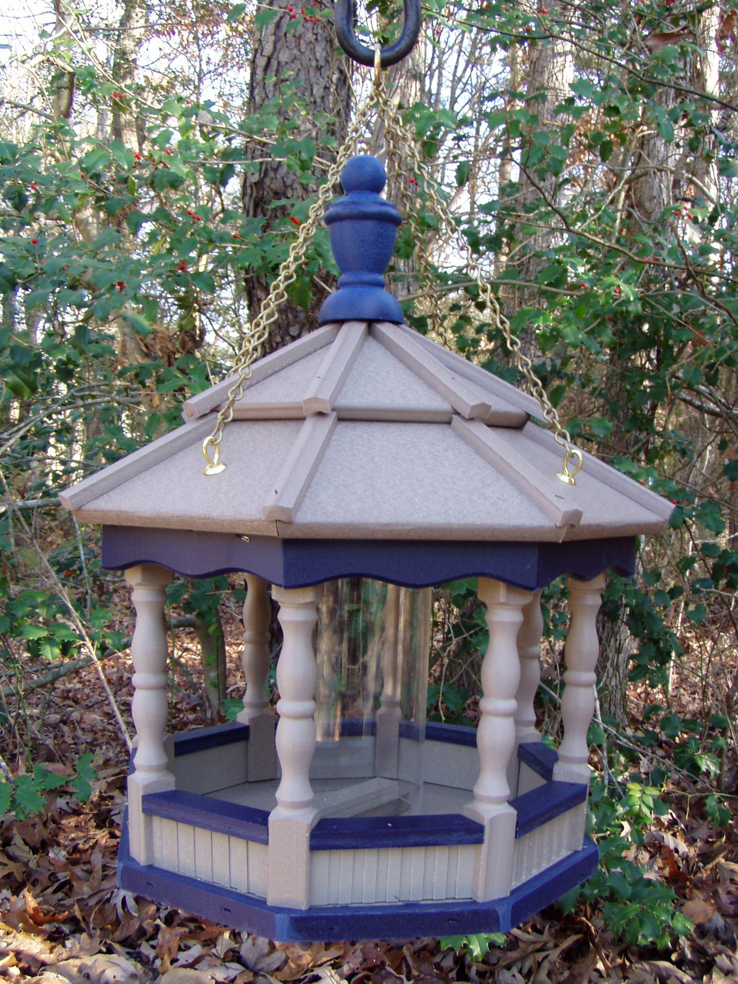 Hanging Poly Bird Feeder Amish Gazebo Handcrafted Homemade Gray & Blue