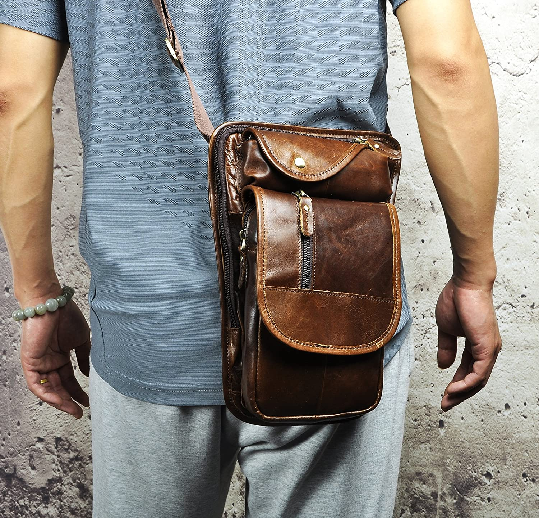 Leaokuu Mens Genuine Leather Motorcycle Tactic Fanny Belt Waist Pack Drop Leg Cross Over Bag 2141 X3111 dark brown