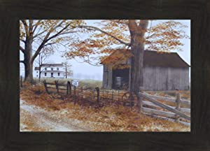 Old County Road by Billy Jacobs 16x22 Country House Landscape Barn Farm Primitive Folk Art Print Wall Décor Framed Picture (2