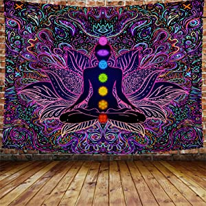 "VEEMONIK Seven Chakra Tapestry - Bohemian Mandala Spiritual Tapestries Yoga Meditation Wall Hanging Boho Studio Room Art Home Decoration Bedroom Decor Living Room Divider Balcony Sheer 90.5"" × 70.8"""