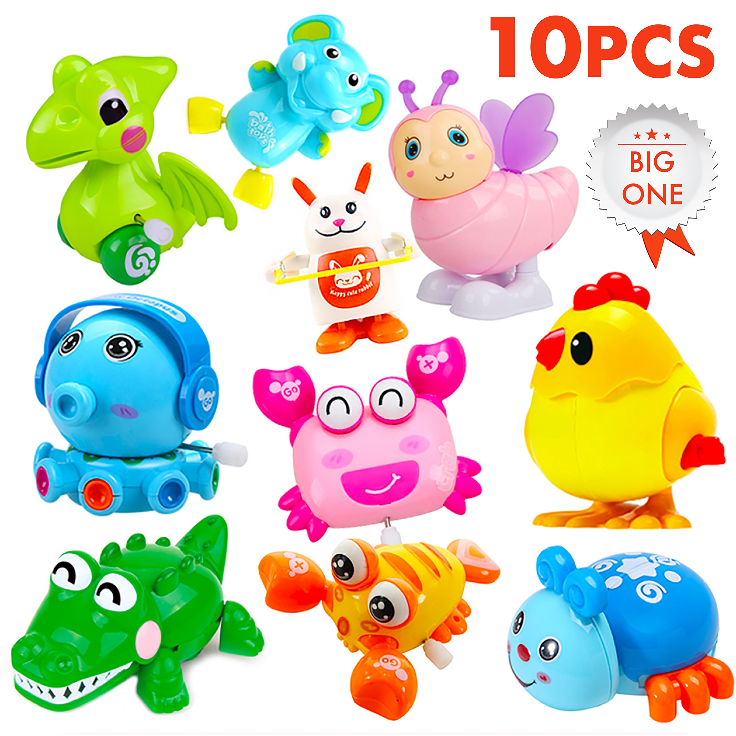 Wind up Toys / Wind up Toy Kids Toddlers Party Favors/ Assorted 10 Large Animals Wind-up Toys / Clockwork Toy Set / Hopping Toy / Birthday Goody Bags / Game Prizes / Toy Chests (Set of 10 )