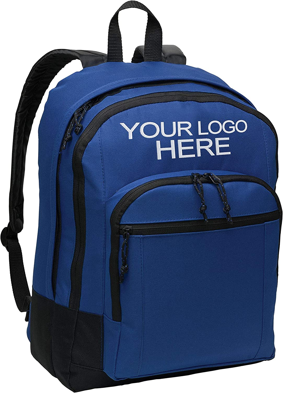 Personalized Customized Basic Classic Twilight Blue School Backpack for Teen Girls and Boys - Add Your Embroidered Logo