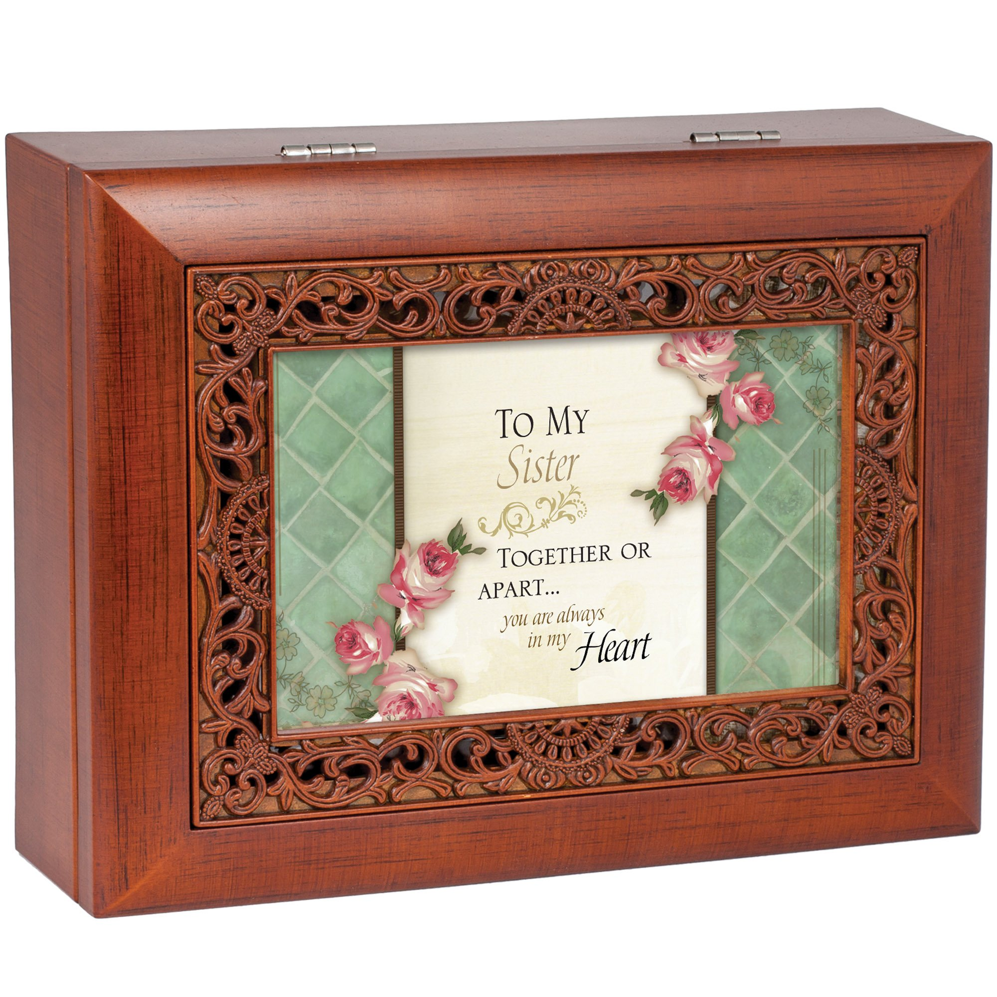 Cottage Garden Sister Woodgrain Ornate Music Box Plays Wonderful World by Cottage Garden (Image #3)
