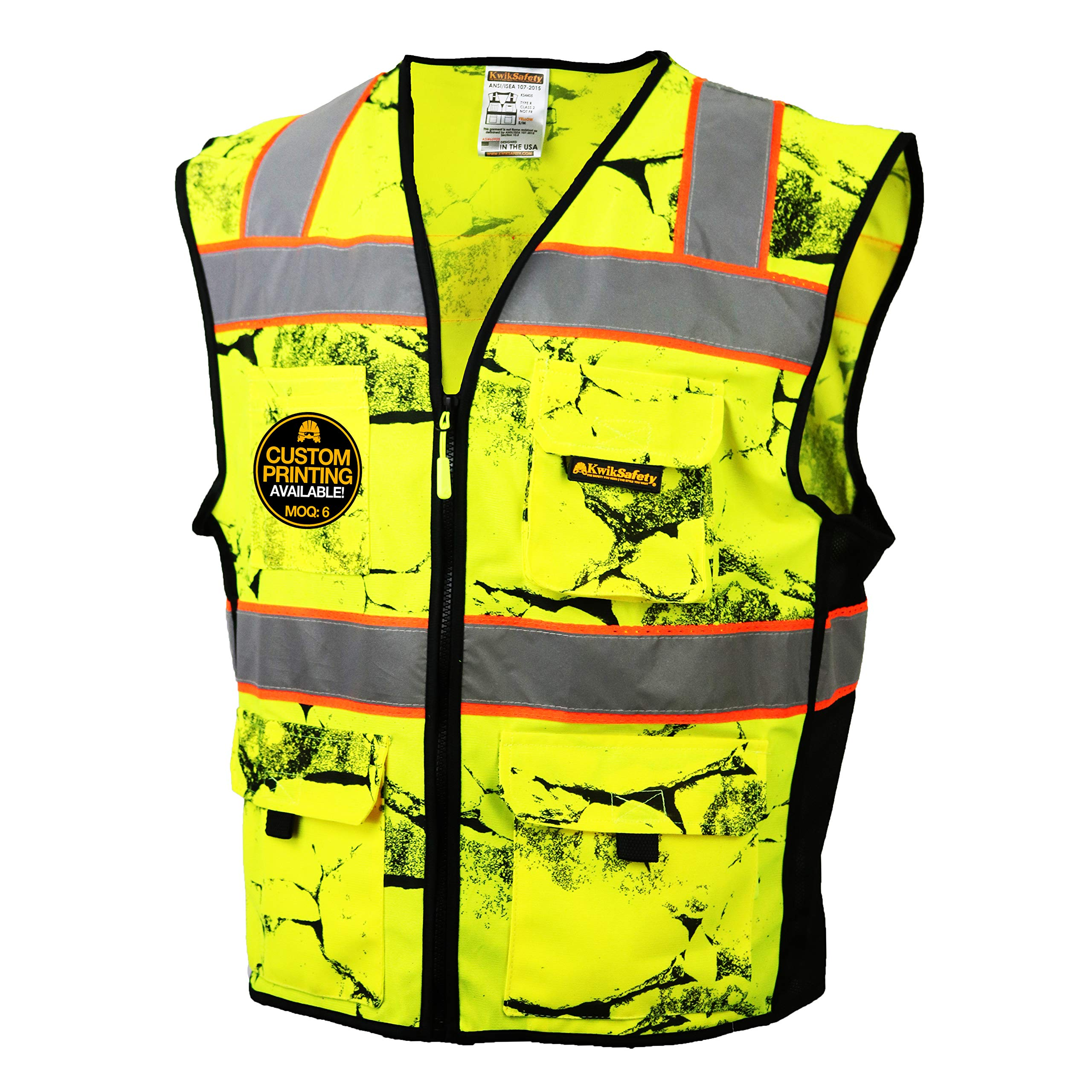 KwikSafety (Charlotte, NC) UNCLE WILLY'S WALL (10 Pockets) Class 2 ANSI High Visibility Reflective Safety Vest Heavy Duty Mesh with Zipper and HiVis for Construction Work HiViz Men Yellow Black L/XL