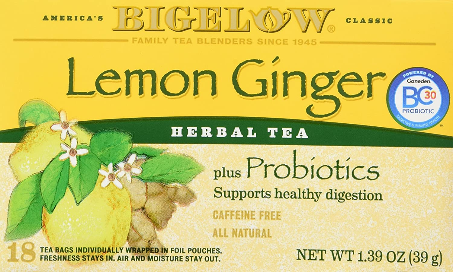 Bigelow Classic Lemon Ginger Herbal Tea Plus Probiotics 18 Bags