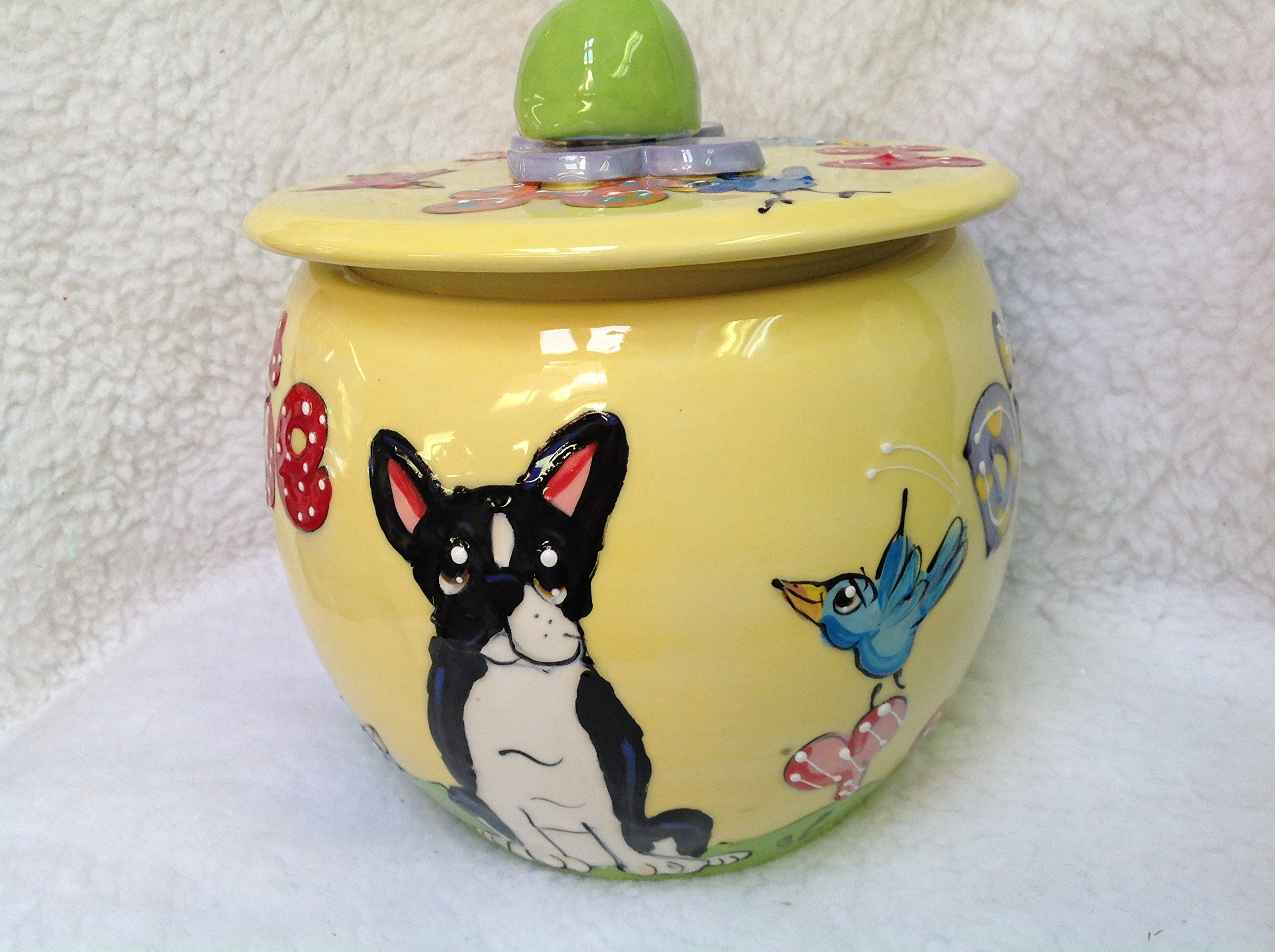 Treat Jar, Boston Terrier. Personalized at no Charge. Signed by Artist, Debby Carman.