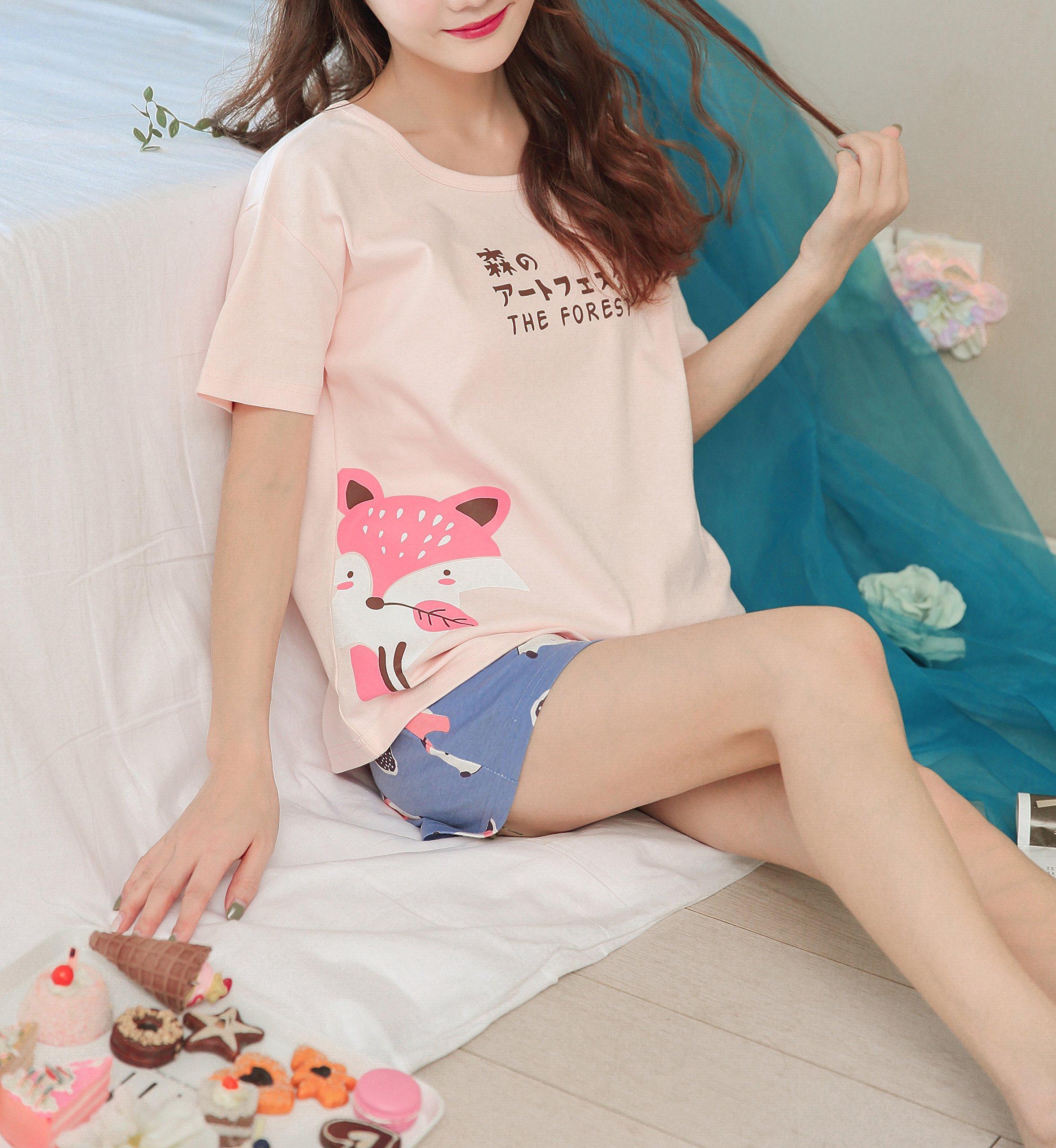 KINYBABY Big Girls Summer Pajama Set Cute Fox Printed Cotton Sleepwear Top&Shorts Pink Fox L by KINYBABY (Image #5)