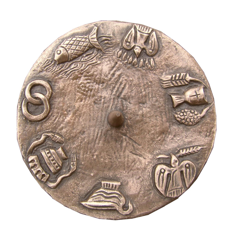 Unbekannt Taufkerzenleuchter Kerzenleuchter Leuchter 7 Symbole 12 cm Bronze Ringfuss