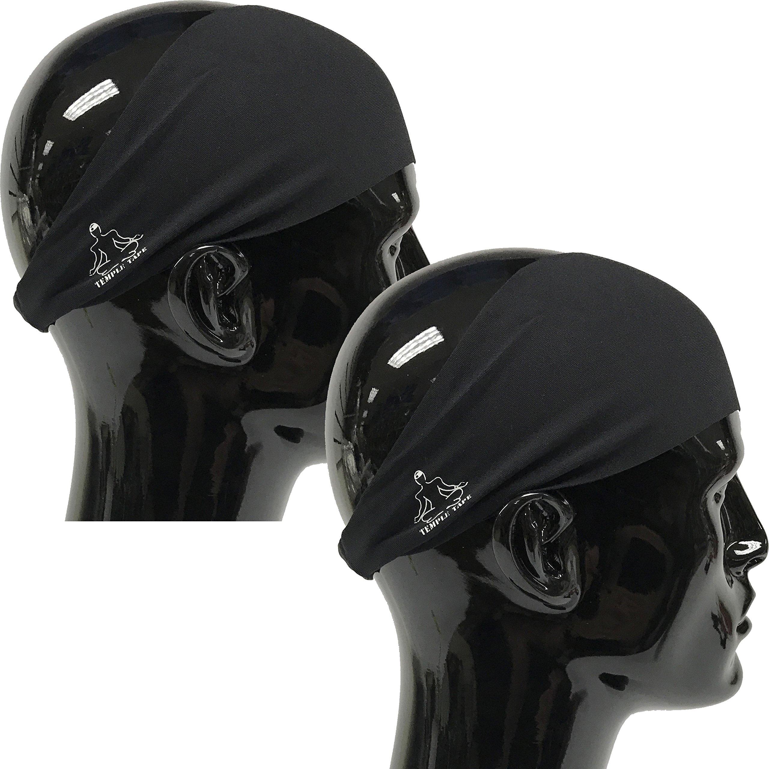 Value 2-Pack, Mens Headband - Guys Sweatband & Sports Headbands Moisture Wicking Workout Sweatbands for Running, Cross-Train, Skiing and bike helmet friendly - Value Pack - 2-Black Sweatbands - 2 Pack by Temple Tape