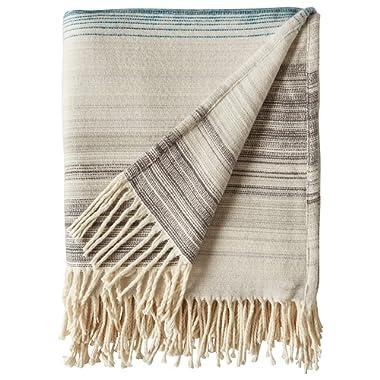 Rivet Modern Ombre Effect 100% Cotton Lightweight Throw Blanket, 50  x 60 , Cool Multi