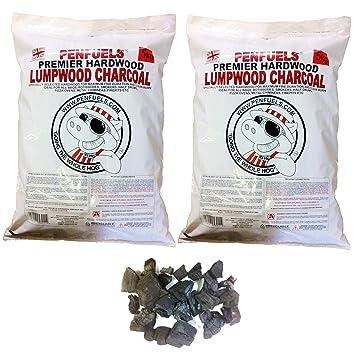 penfuels madera carbón vegetal para barbacoa, barbacoa en dos bolsas de 5 kg (10 kg total): Amazon.es: Jardín