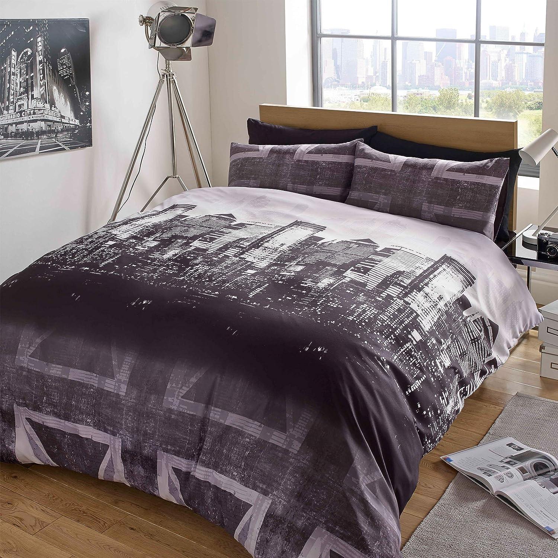 Dreamscene–Gorgeous Skyline impresión funda de edredón de juego de cama, morado, King