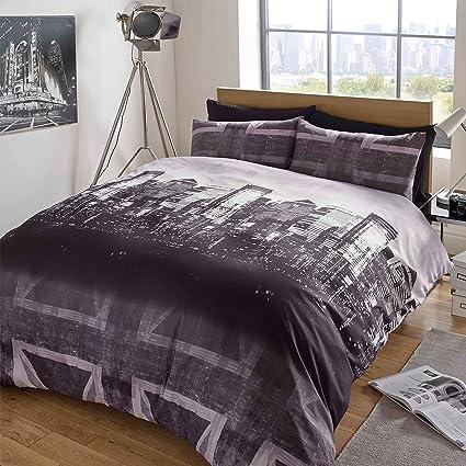 259ff2f4e51 Dreamscene Duvet Cover with Pillow Case Bedding Set Skyline Union Jack  Charcoal Purple - Single: Amazon.co.uk: Kitchen & Home