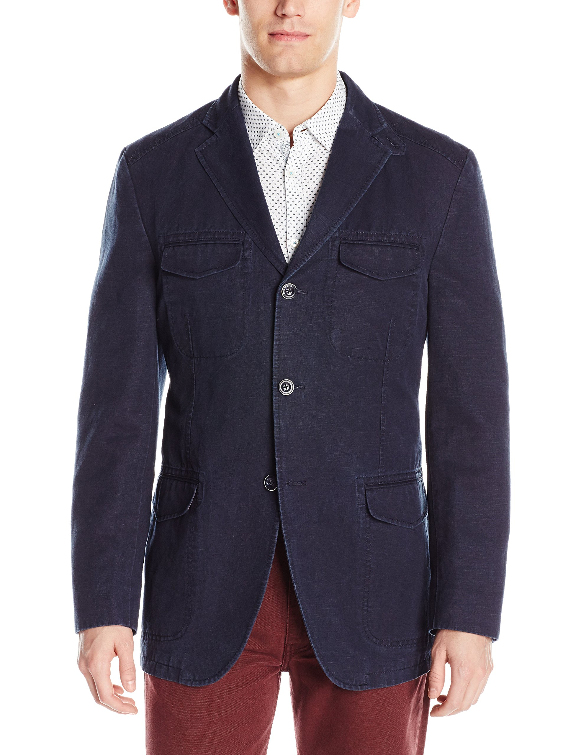 Kroon Men's Hozier Washed Cotton and Linen Italian Fabric, Navy, 44 Regular