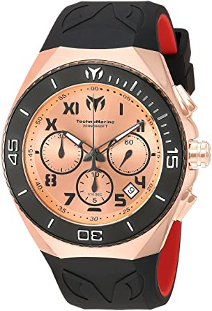 Technomarine Mens Manta Quartz Gold and Silicone Casual Watch, Color:Black (