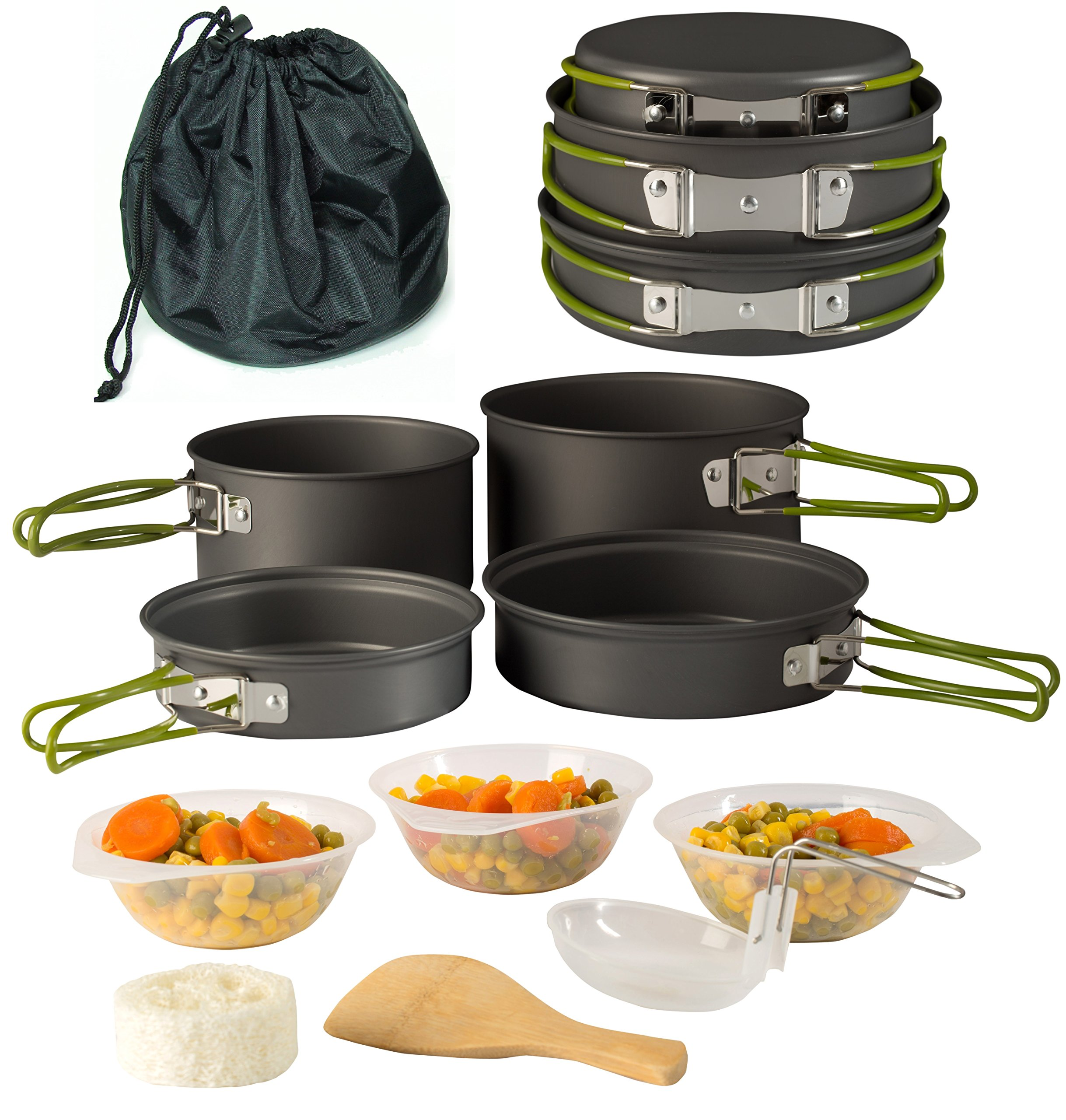 Wealers Camping Cookware 11 Piece Outdoor Mess Kit Backpacking| Trailblazing add on | Compact| Lightweight| Durable with Chef Pots, Bowls, Utensils and Mesh Carry Bag Included (11 Piece Set) by Wealers