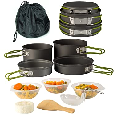 Wealers Camping Cookware 11 Piece Outdoor Mess Kit Backpacking  Trailblazing add on   Compact  Lightweight  Durable with Chef Pots, Bowls, Utensils and Mesh Carry Bag Included
