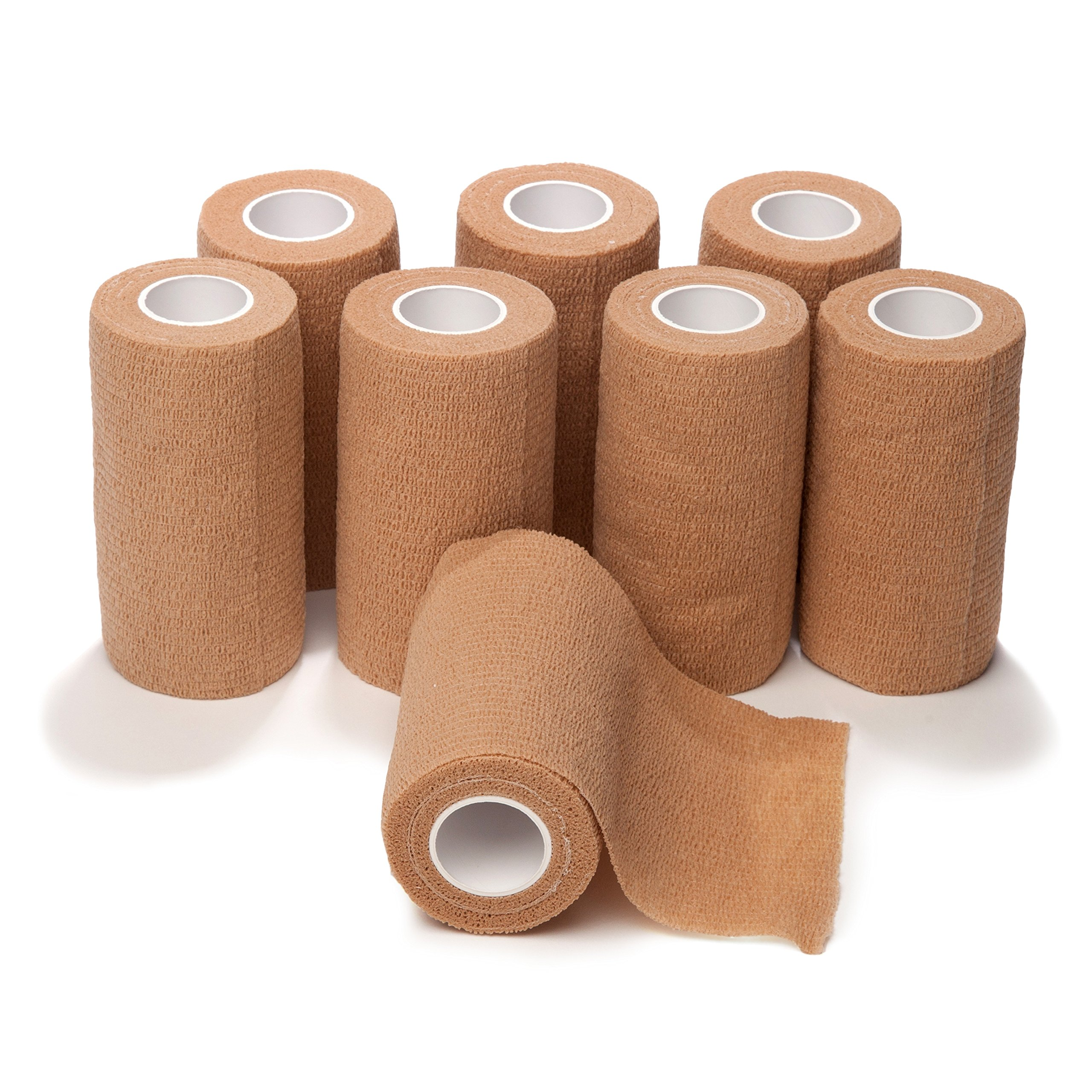 4-inch Wide Self Adherent Cohesive Wrap Bandages (8 Pack) Bundle, 5 yds Self Adhesive Non Woven Bandage Rolls, Brown Athletic Tape for Wrist, Ankle, Hand, Leg, Premium-Grade Medical Stretch Wrap by California Basics