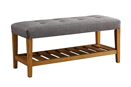 ComfortScape Storage Bench For Entryway With Padded Cushion Seat, Gray U0026 Oak