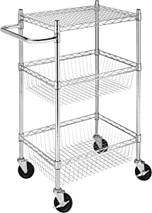 Whitmor Supreme Commercial Basket 3 Tier Cart Chrome