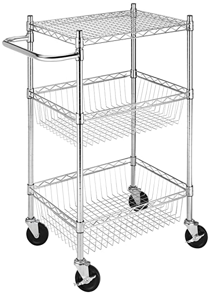 97aa54720188 Whitmor Supreme Commercial Basket 3 Tier Cart Chrome