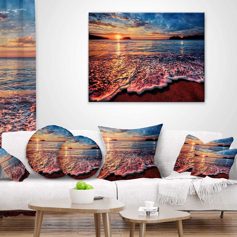 In Designart Cu10602 16 16 Peaceful Evening Beach View Seascape Cushion Cover For Living Room X