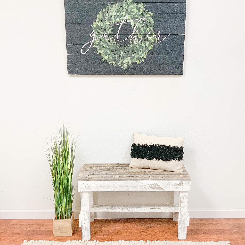 Del Hutson Designs Natural Reclaimed Barnwood Rustic Farmhouse Bench, USA Handmade Country Living Decor (Natural/White)