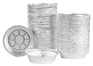 Aluminum Foil Pie Pans - 200-Piece Round Disposable Tin Pans for Baking, Roasting, Broiling Cooking, For Temperatures Up To 300-F, 7.5 x 1.5 Inches