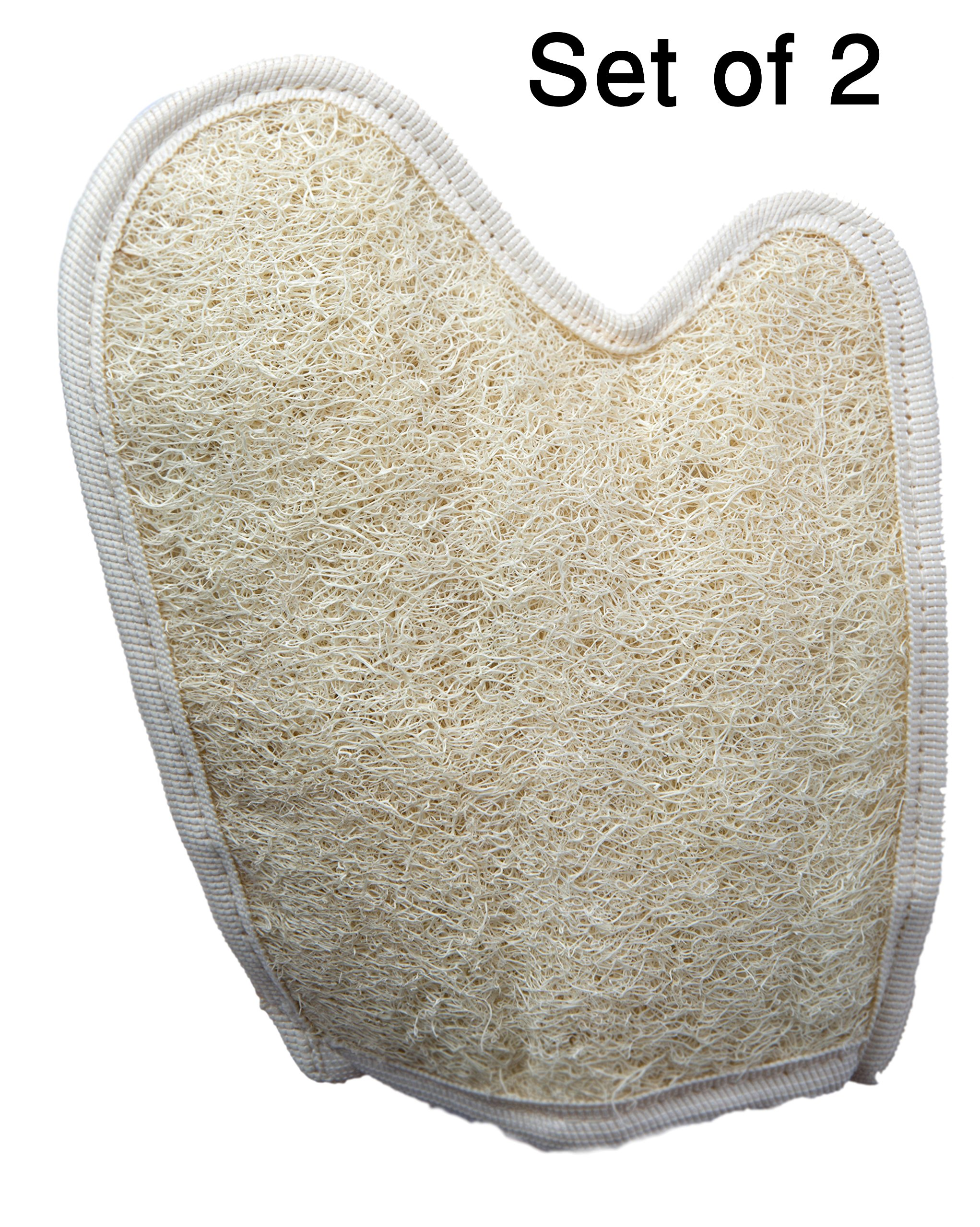 Exfoliating Egyptian Loofah Glove/Pad - 2 Pack 100% Natural SPA Beauty - Bath Sponge Body Puff Scrubber - Premium Quality Lofa Loofa Luffa Loffa for exfoliating Your Skin.