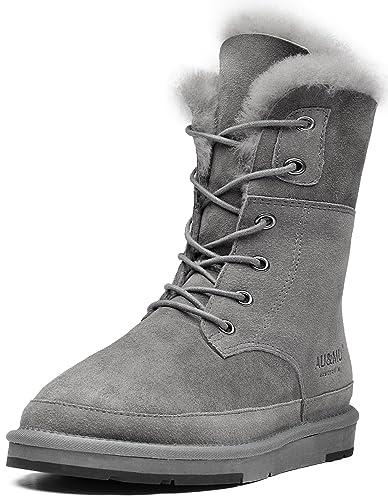 9504695474b Aumu Women s Classic Lace Up Mid- Calf Flat Fur Snow Boot Winter Boot Grey  Size