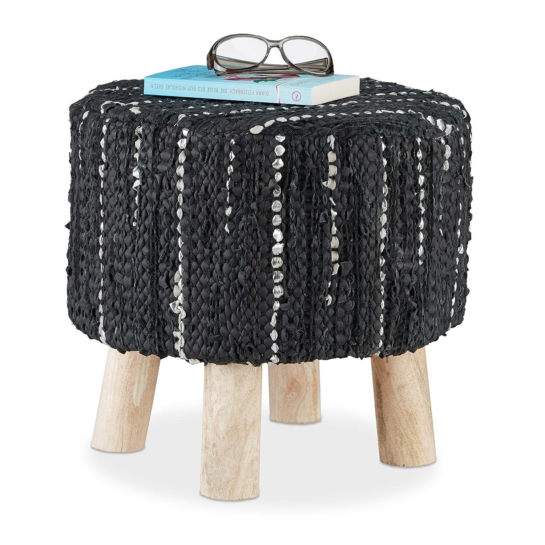 Relaxdays - Taburete Redondo tapizado Vintage con Acolchado de Piel, 4 Patas de Madera, Puff Moderno, Tela, Gris, 41 x 41 x 41 cm, Tela, Negro, 42 x 42 x 40 cm
