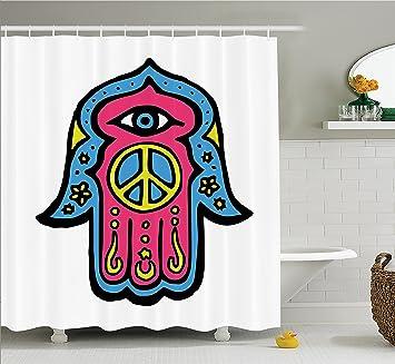 Hamsa Decor Vorhang Fur Die Dusche Set By Ambesonne Hippie Boho