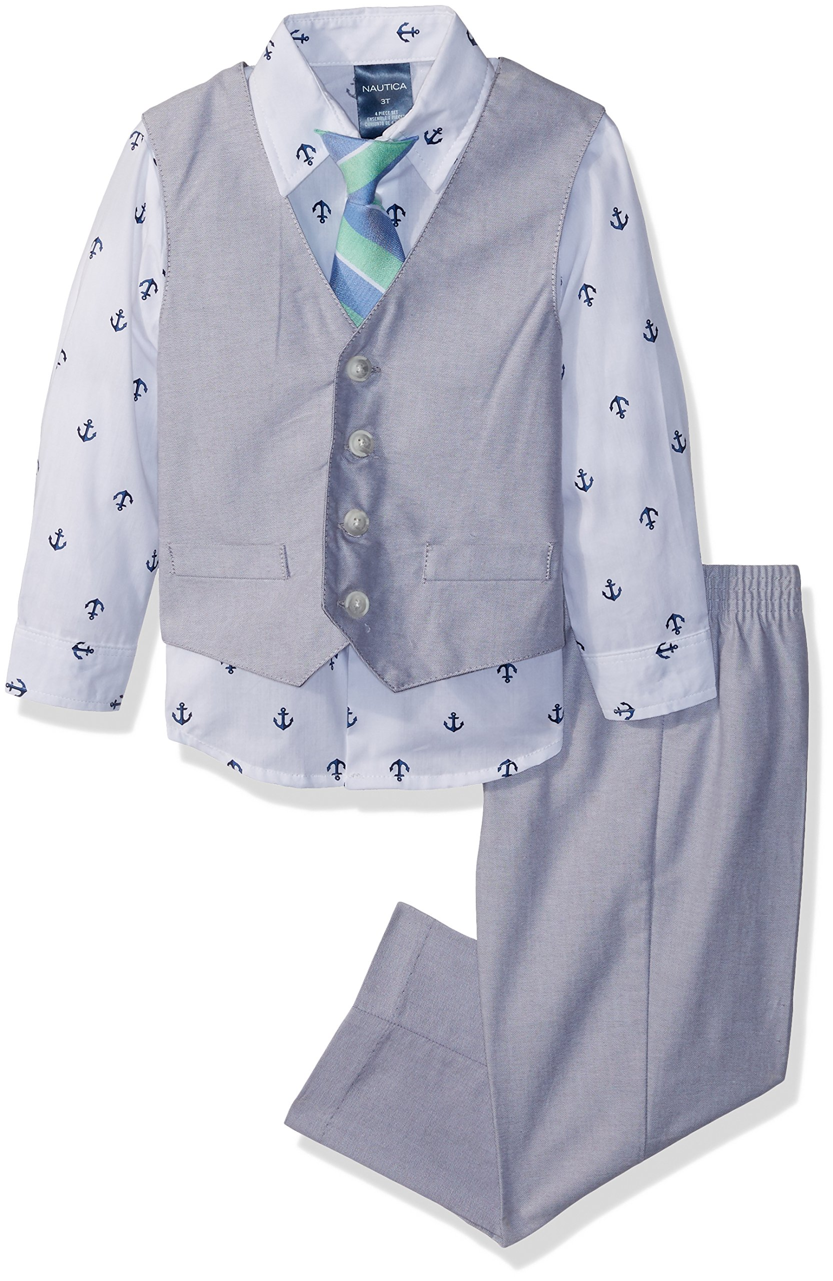 Nautica Boys' Toddler 4-Piece Formal Dresswear Vest Set, Mouse Grey Oxford, 3T