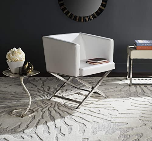 Safavieh Home Collection Celine White and Chrome Modern Glam Bonded Leather Cross Leg Chair