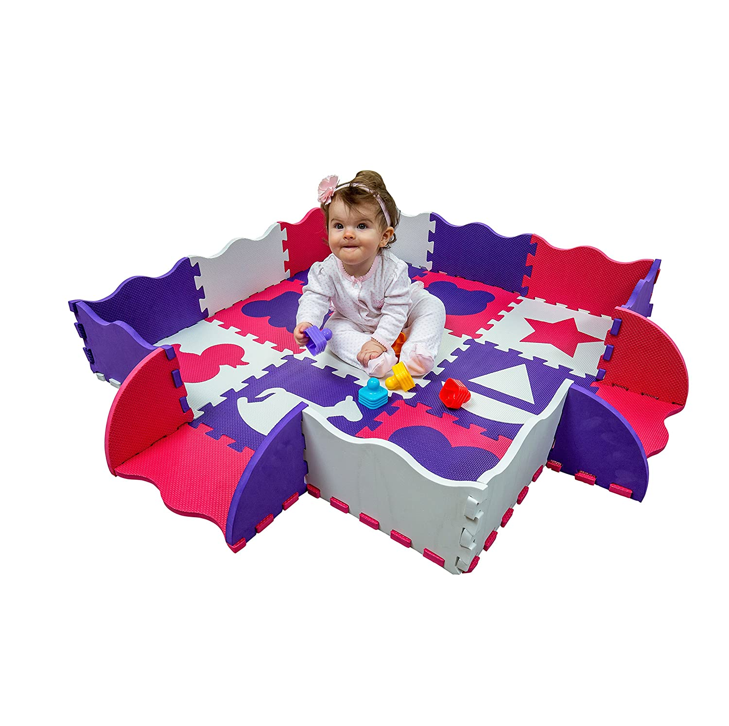 Non-Toxic Baby Play Mat for Infants with Collapsible Fence Edging for Infant Tummy Time and Activity. 48