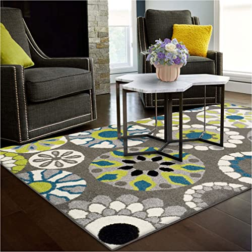 Superior Medallion Collection Area Rug, 6mm Pile Height with Jute Backing, Affordable Contemporary Rugs, Beautiful and Colorful Medallion Pattern – 8 x 10 Rug, Black, Grey, Blue, and Light Green