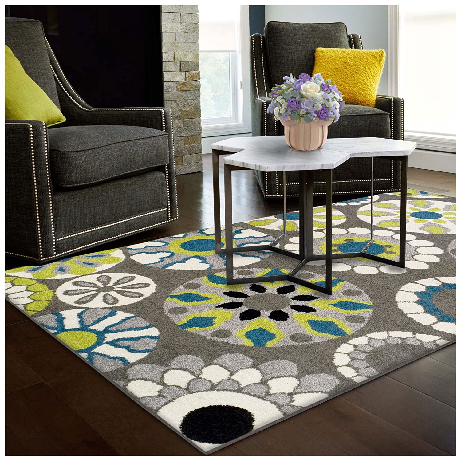 Superior Medallion Collection Area Rug, 6mm Pile Height with Jute Backing, Affordable Contemporary Rugs, Beautiful and Colorful Medallion Pattern - 2'7 x 8' Runner, Black, Grey, Blue, and Light Green 2.6x8RUG-MEDALLION