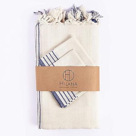 HILANA Kayseri Ecológico Lino: 95 x 71 Pulgadas Mantel + 12 servilletas de algodón: Amazon.es: Hogar