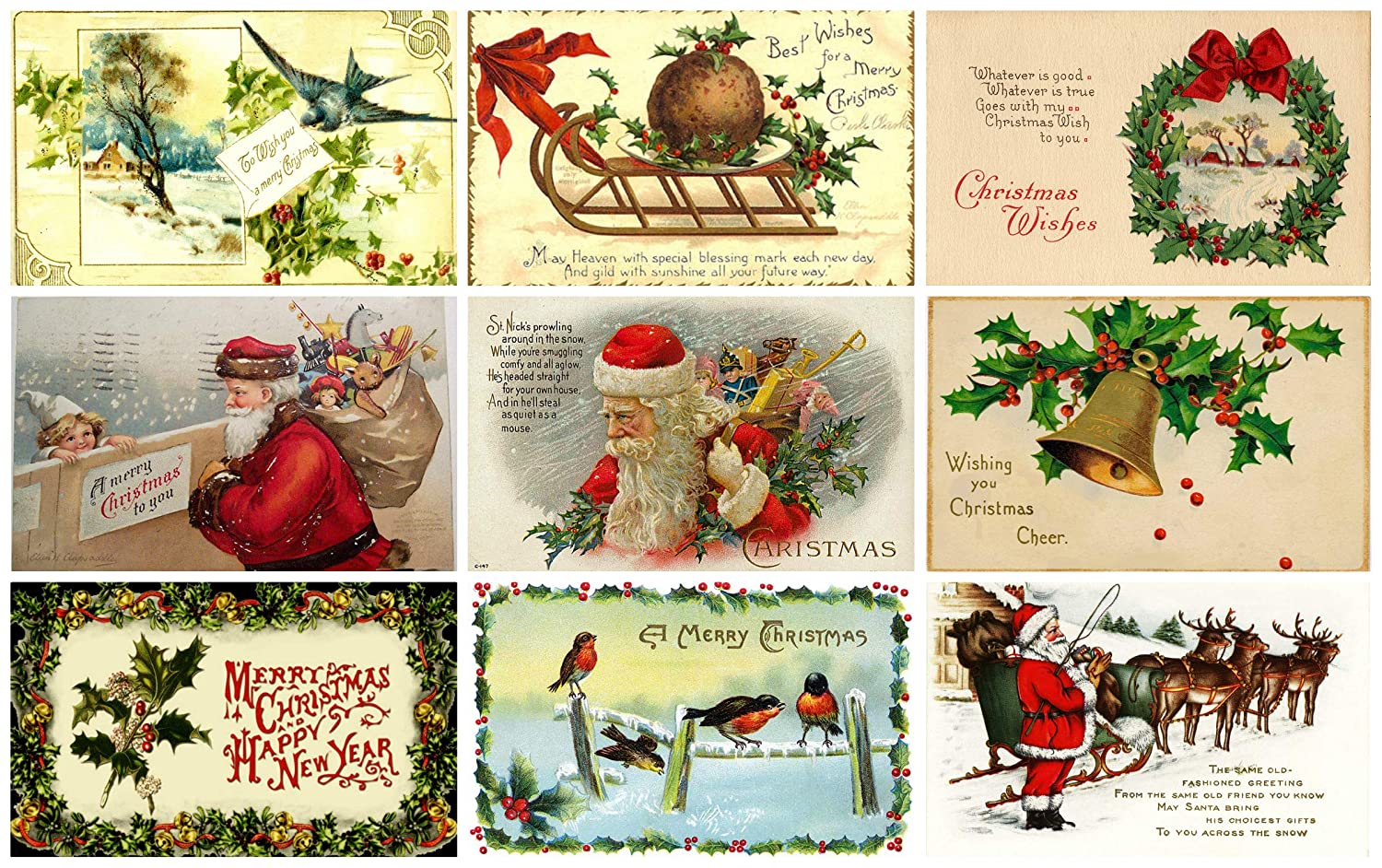 Victorian Vintage Christmas Card #103 Printed Collage Sheet 8.5 x 11
